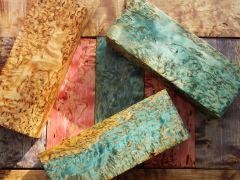стабилизированная карельская береза-синяя, красная, фиолетовая, натуральная